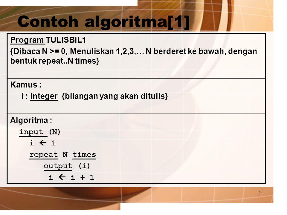 Contoh algoritma[1] Program TULISBIL1